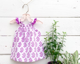 Purple Floral Baby Shirt, Cotton Baby Girl Top, Baby Tunic, Flutter Sleeve Top, Baby Blouse, Baby Girl Shirt, India Block Print Baby Top