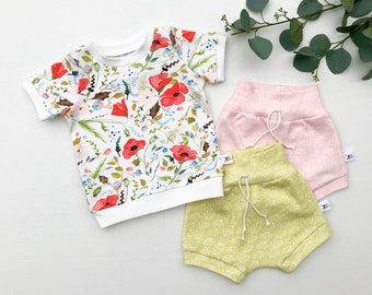 Red Poppies Kids Outfit / Floral Short Sleeve Baby Shirt / Girl Clothes / Toddler Shirt / Baby Shorts