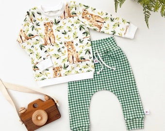 Lion Cub Baby Outfit, Easter Kids Outfit, Unisex Baby Shirt and Pants Set, Gingham Pants, Safari Sweatshirt