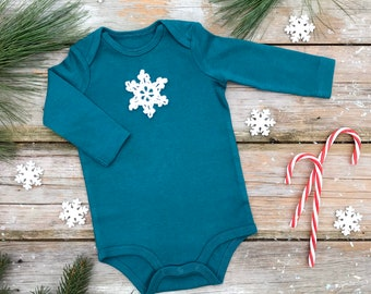 Snowflake Bodysuit / Unisex Organic Bodysuit / Green Winter Kids Bodysuit / Long Sleeve Bodysuit / Short Sleeve Bodysuit