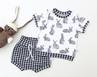 Easter Bunny Baby Outfit, Easter Kids Outfit, Unisex Baby Shirt and Shorts Set, Gingham Shorts