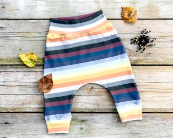 Halloween Stripe Baby Pants, Unisex Kids Pants, Fall Kids Pants, Striped Baby Pants
