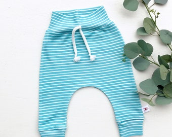 Blue Stripe Baby Pants / Blue and White Striped Kids Pants / Baby Leggings / Toddler Pants