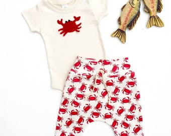 Red Crabs Leggings, Crab Baby Harem Pants, Organic Baby Pants, Baby Leggings, Summer Baby Pants, Kids Leggings, Unisex Baby Clothes