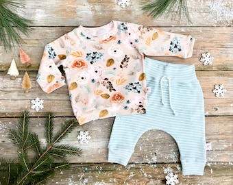 Floral Baby Pullover / Winter Kids Sweatshirt / Floral Top / Toddler Shirt / Baby Pants / Mint Green Stripe Kids Pants