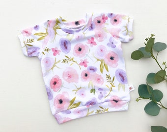 Floral Kids Shirt / Pink and Purple Floral Baby Shirt / Short Sleeve Stripe Shirt / Baby Girl Clothes