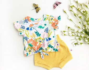 Floral Tie Front Girls Top, Ruffle Sleeve Baby Shirt / Yellow Polka Dot Baby Shorts / Short Sleeve Knot Front Baby Shirt