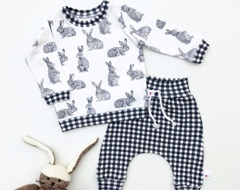 Easter Bunny Baby Outfit, Easter Kids Outfit, Unisex Baby Shirt and Pants Set, Gingham Pants