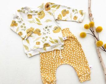 Mustard Floral Kids Sweatshirt, Mustard Polka Dot Kids Pants, Fall Baby Outfit, Baby Girl Gift