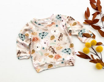 Floral Baby Pullover / Winter Kids Sweatshirt / Girls Christmas Top / Holiday Toddler Long Sleeve Shirt