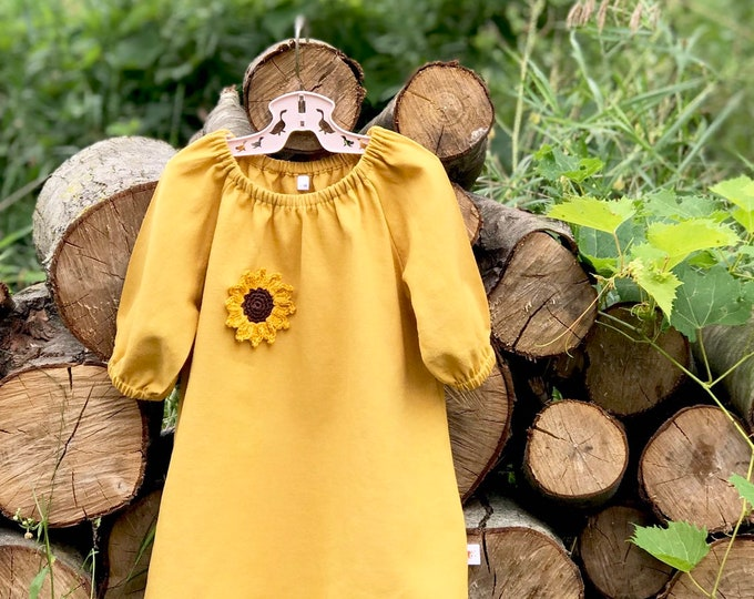 Featured listing image: Sunflower Linen Dress, Girls Mustard Linen Dress, Fall Baby Dress, Peasant Dress