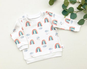 Rainbow Baby Organic Pullover / Baby Girl Rainbow Sweatshirt / Kids Top / Toddler Shirt