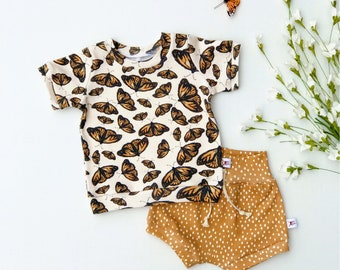 Butterflies Kids Outfit / Burnt Orange Butterfly Short Sleeve Baby Shirt / Unisex Baby Clothes / Toddler Shirt / Baby Shorts