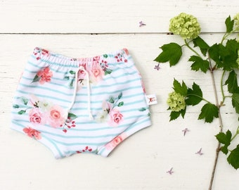 Baby Bummies, Pink and Mint Floral Baby Shorts, Shorties, Diaper Cover, Bloomers, Stripes and Flowers Baby Shorts