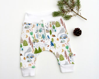 Camping Organic Baby Pants, Camper Leggings, Gift Under 30, Unisex Kids
