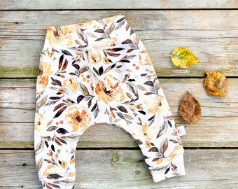 Floral Baby Pants, Brown Floral Kids Pants, Autumn Baby Leggings, Fall Kids Pants, Baby Girl Clothes, Gift Under 30