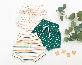 Stripe Kids Shorts, St Patrick's Day Shorts, Green Unisex Kids Shorts,  Baby Shorts, Gender Neutral Baby Clothes