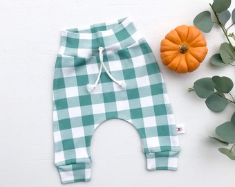 Spruce Green Buffalo Plaid Baby Pants / Christmas Kids Pants / Unisex Kids Leggings / Toddler Pants