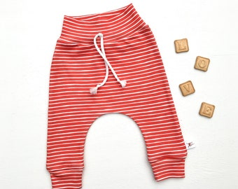 Red Stripe Baby Pants / Valentines Day Kids Pants / Baby Leggings / Toddler Pants
