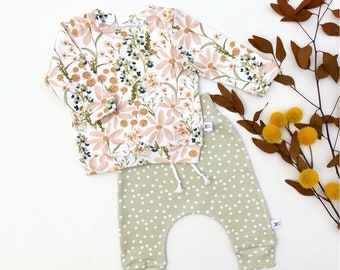 Fall Floral Kids Sweatshirt, Sage Green Polka Dot Kids Pants, Daisy Baby Outfit, Baby Girl Gift Idea