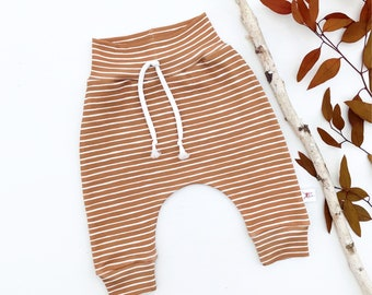 Cinnamon Stripe Baby Pants, Fall Striped Kids Pants, Gender Neutral Baby Leggings, Unisex Kids