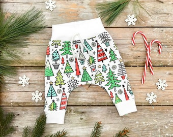 Christmas Trees Kids Pants, Organic Baby Pants, Leggings, Unisex Kids Pants, Gender Neutral Gift idea