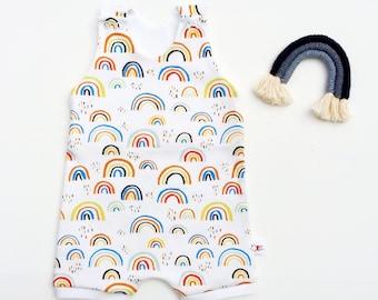 Rainbow Baby Romper, Organic Romper, Gift for Baby, Unisex Kids Rainbows Romper, Shorts Romper, Summer Romper, Jumper, Playsuit, Jumpsuit