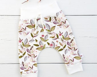 Pink Floral Baby Leggings, Organic Kids Pants, Baby Girl Pants, Baby Harem Pants, Baby Girl Clothes