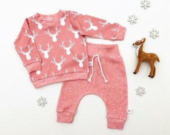 Pink Deer Woodland Baby Sweatshirt Set / Winter Kids Pullover / Baby Girl Outfit / Toddler Shirt / Baby Pants