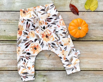 Fall Floral Baby Pants, Brown Floral Kids Pants, Autumn Baby Leggings, Fall Kids Pants, Baby Girl Clothes, Gift Under 30