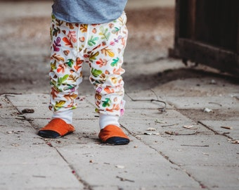 Kids Fall Leaves Pants, Unisex Leggings, Baby Harem Pants, Organic Baby Pants, Autumn Leaves Baby Leggings, Fall Baby Pants, Kids Leggings