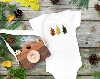 Fall Leaves Bodysuit, Unisex Baby Clothes, Leaf Bodysuit, Natural Short Sleeve Bodysuit, Woodland Wonders