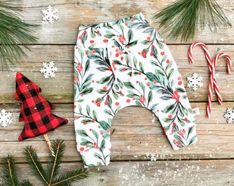 Christmas Organic Baby Pants / Mistletoe Kids Pants / Unisex Kids / Holly Berry Baby Leggings / Toddler Pants