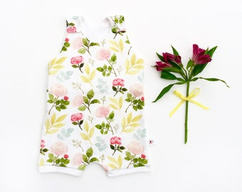 Floral Baby Romper, Baby Gift, Kids Organic Romper, Floral Kids Romper, Baby Shorts Romper, Pink Roses Summer Romper, Kids Shorts Romper