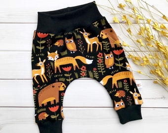 Woodland Kids Pants, Fall Kids Pants, Fox Baby Pants, Unisex Kids Pants, Autumn Kids Pants