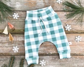 Spruce Green Buffalo Plaid Baby Pants / Christmas Kids Pants / Unisex Kids Leggings / Toddler Pants