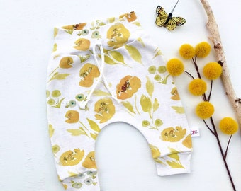 Mustard Floral Baby Pants, Autumn Kids Pants, Floral Baby Leggings, Fall Kids Pants, Baby Girl Clothes, Gift Under 30