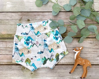 Woodland Mountains Baby Shorts, Organic Baby Shorts, Shorties, Autumn, Fall Baby Clothes, Kids Shorts