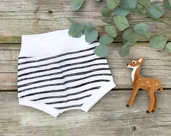 Black Stripe Baby Shorts, Organic Baby Shorts, Unisex Kids Shorts, Shorties, Autumn, Fall Baby Clothes
