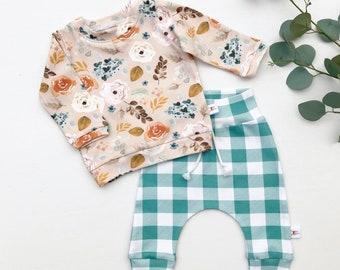 Floral Baby Pullover / Winter Kids Sweatshirt / Floral Top / Toddler Shirt / Baby Pants / Buffalo Plaid Kids Pants