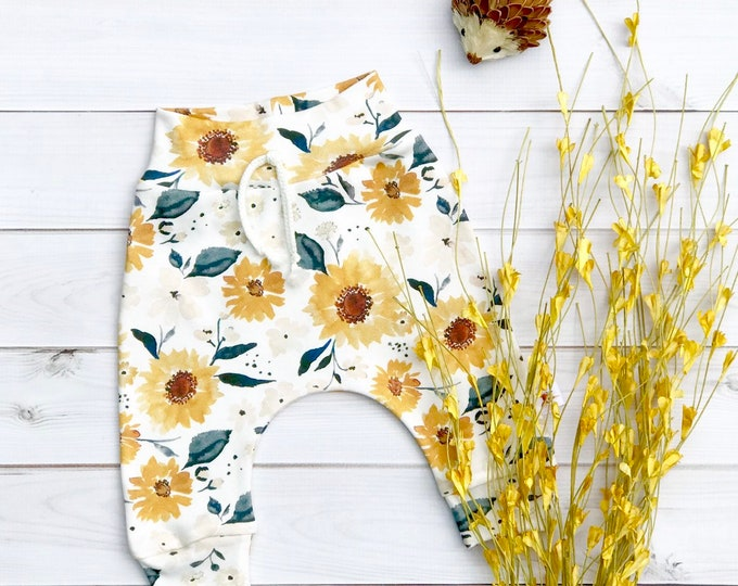 Featured listing image: Sunflower Baby Pants, Organic Kids Pants, Floral Baby Leggings, Fall Kids Pants, Baby Girl Clothes, Gift Under 30