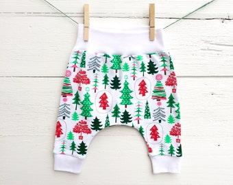 Christmas Trees Baby Pants, Winter Pants, Baby Pants, Baby Leggings, Baby Harem Pants, Christmas Clothes, Baby joggers