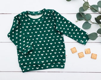 Green Hearts and Stripes Kids Outfit / Long Sleeve Baby Shirt / Unisex Kids / Toddler Shirt / Baby Pants