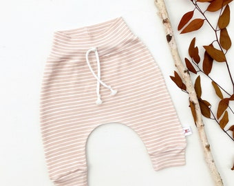 Oatmeal Beige Stripe Baby Pants, Fall Striped Kids Pants, Gender Neutral Baby Leggings, Unisex Kids