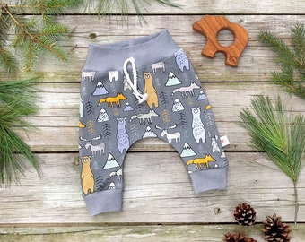 Woodland Bears Kids Pants, Fall Kids Pants, Organic Baby Leggings, Bear Moose Fox Pants, Baby Gift Under 30
