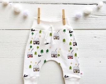 Winter Lodge Kids Pants, Organic Baby Leggings, Winter Cabin Pants, Winter Kids Pants, Baby Joggers, Scandinavian Kids Pants, Harem Pants