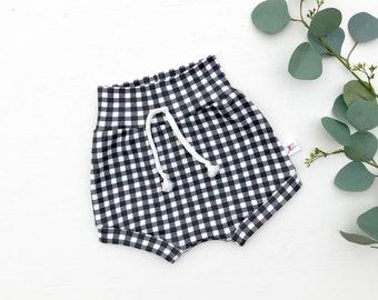Black Gingham Baby Shorts, Unisex Kids Shorts, Black and White Plaid Shorts, Kids Clothing