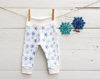 Snowflakes Kids Pants, Organic Baby Pants, Christmas Baby Leggings, Blue Snowflakes Baby Pants, Winter Kids Pants, Unisex Kids Pants