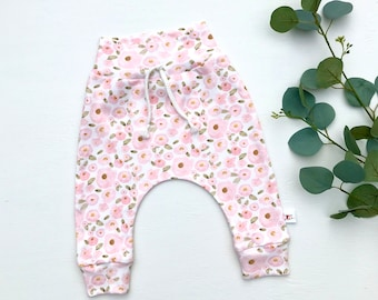 Pink Floral Baby Pants / Floral Kids Pants / Baby Girl Leggings / Toddler Pants