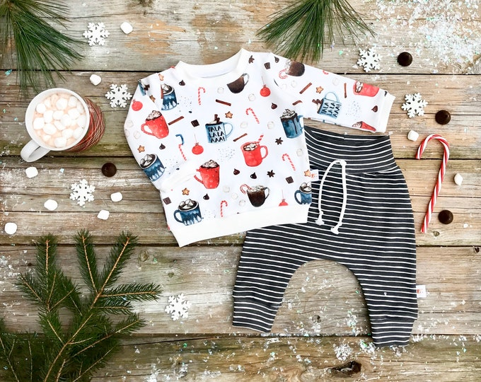 Featured listing image: Christmas Organic Baby Pullover / Winter Kids Sweatshirt / Hot Cocoa Top / Toddler Shirt / Hot Chocolate Baby Pants / Kids Pants